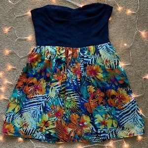 Tropical strapless A-line dress